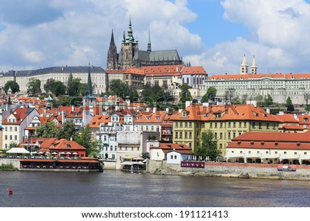 View on the spring Prague gothic Castle above River Vltava, Czech Republic