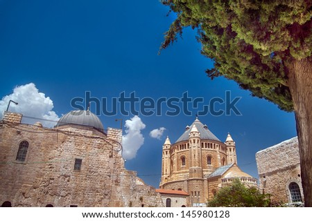 View on the tower of Dormition Abbey, Jerusalem - stock photo