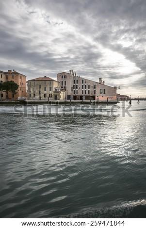 View on the Venetian Laguna - Cannaregio, Venice Italy - stock photo