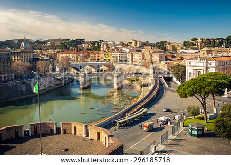 View on Tiber river in Rome, Italy - stock photo