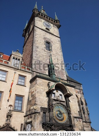 View on tower with astronomical clock