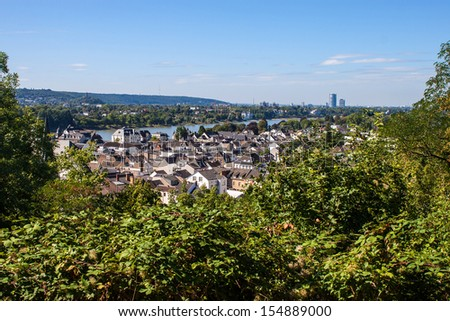 View on town Konigswinter and city Bonn in background, Germany - stock photo
