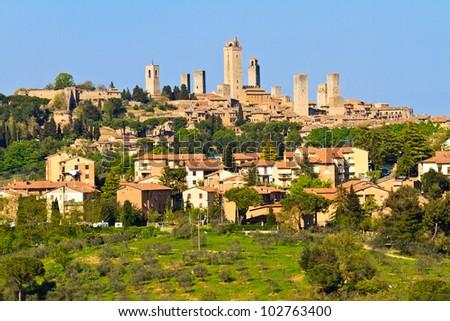 View on Tuscan City of San Gimignano, Tuscany, Italy - stock photo