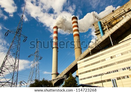 View on two chimney in coal power station - Poland, Europe. - stock photo