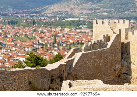 View on UNESCO Ohrid town from old fort. Macedonia.