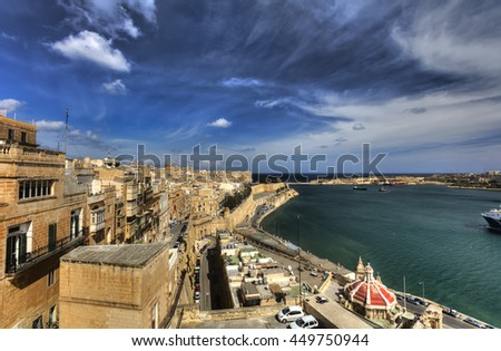 View on Valletta Grand harbor from the historic Upper Barraka garden area in Malta