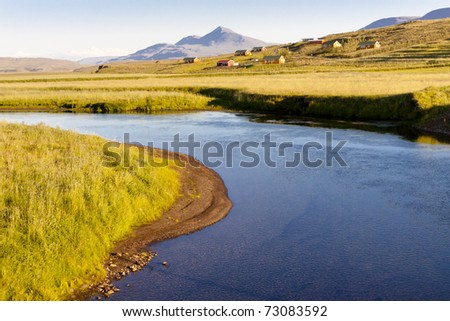 View on Varmahlio village next to Heradsvotn river - Iceland. Summer sunny day.