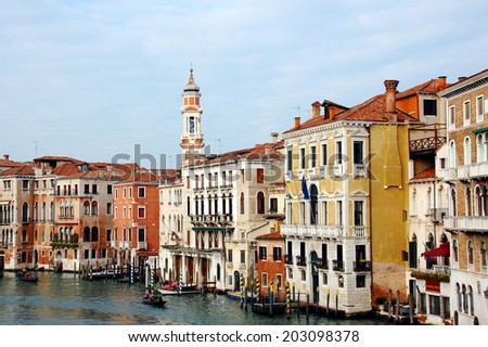 View on Venetian building, palaces, boats and gondolas from the Grand Canal, Venice, Italy - stock photo