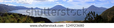 View on Volcanoes and Lake Atitlan, Guatemala - stock photo