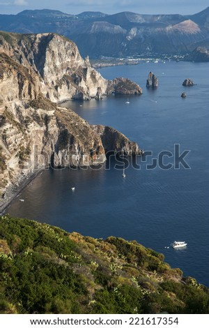 view on Vulcano island from Lipari island, Sicily, Italy - stock photo