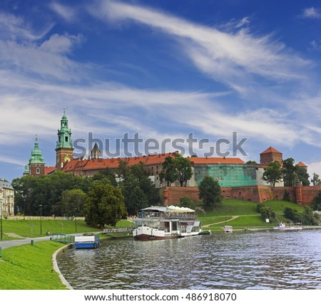View on Wawel castle in Krakow, Poland
