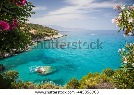 View on Xigia Beach on Zakynthos. Sulphur and collagen springs, Ionian Island, Greece