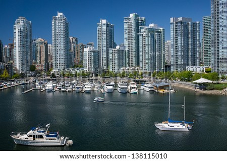 View on Yaletown from Cambie Bridge in Downtown Vancouver.