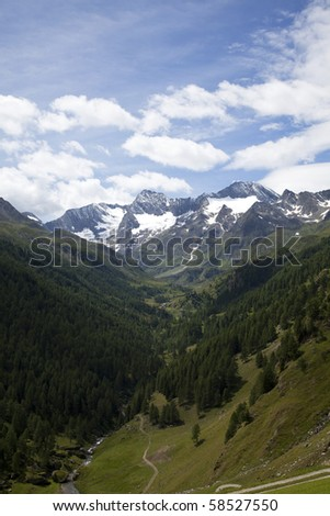 view onto the Oetztal Alps - stock photo
