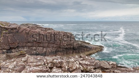 View onto the rocky coastline of the Isle of Skye, Scotland, UK - stock photo