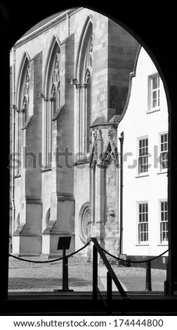 View out from cathedral door, Norwich, Norfolk, England, UK. - stock photo
