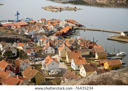 View out of the town Fjallbacka in Sweden. - stock photo