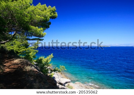 View over a bay at Sali, Dugi Otok, Croatia.