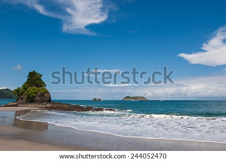 View over a beautiful pacific beach at Manuel Antonio, Costa Rica. National Reserve.