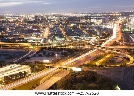 View over a highway at night near Dallas downtown. Texas, United States