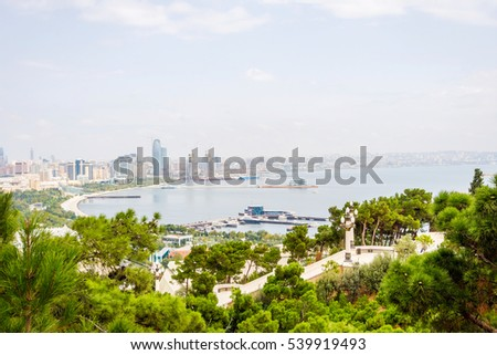 View over Baku skyline with Caspian sea, Azerbaijan