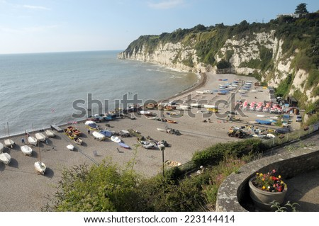View over beach at Beer in South Devon - stock photo