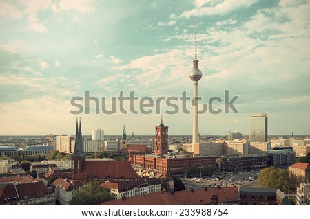 View over Berlin Mitte at evening sun, vintage style, Berlin, Germany, Europe - stock photo