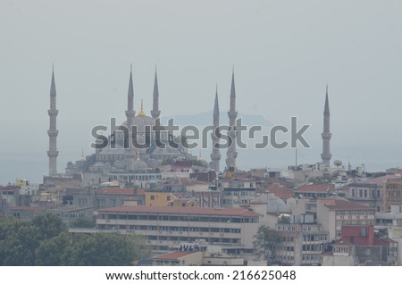 View over blue mosque from the top of galata tower in beyoglu, istanbul. - stock photo