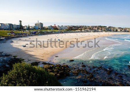 View over Bondi Beach on a summer's day in Sydney, Australia - stock photo