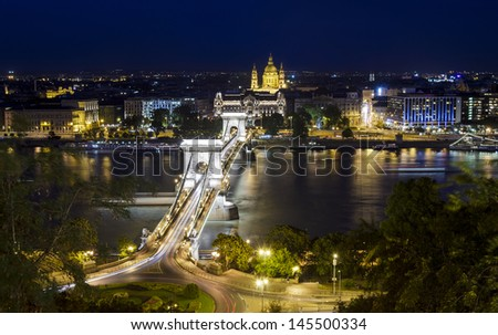 View over Budapest's Chain Bridge at night - stock photo
