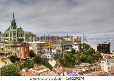 View over cerro Concepcion in Valparaiso, Chile  - stock photo