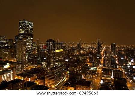 view over chicago by night