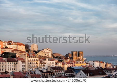 View over city of Lisbon at sunset in Portugal. - stock photo
