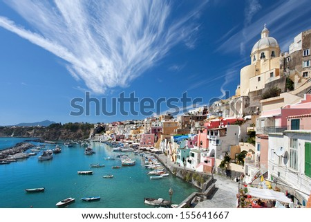 view over colorful Marina di Coricella - small fisherman village on the Island of Procida italy
