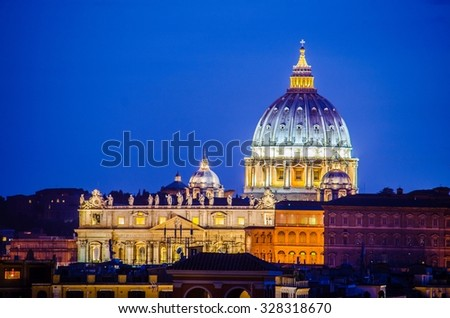 view over cupola of saint peters basilica in vatican taken from vatican museums - stock photo