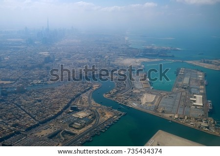 View over Dubai from an airplane