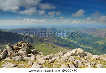 View over Ennerdale from the summit of Pillar in the English Lake District - stock photo