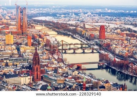 View over Frankfurt am Main at sunset - stock photo