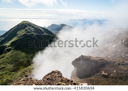 """View over Guadeloupe, on the summit of volcano """"La Soufriere"""", Guadeloupe - stock photo"""