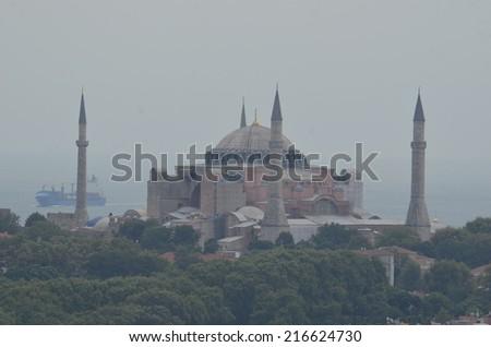 View over hagia sophia - stock photo
