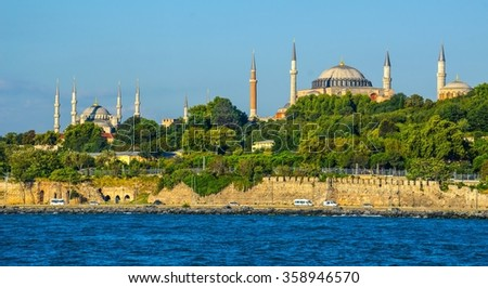 View over hagia sophia and blue mosque and adjacent seaside in istanbul. - stock photo