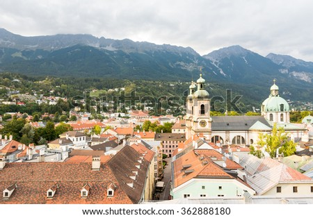 View over Innsbruck (Tyrol, Austria) and the cathedral. - stock photo