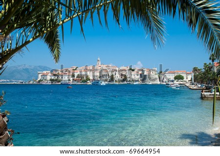 View over Korcula old city on the side of the bay, Croatia - stock photo