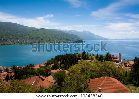 View over lake Ohrid in Macedonia - stock photo