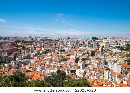 View over Lisbon in Portugal on a sunny day - stock photo