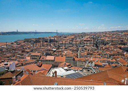 View over Lisbon in Portugal with the river Tagus in the back