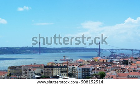 View over Lisbon, the capital city of Portugal