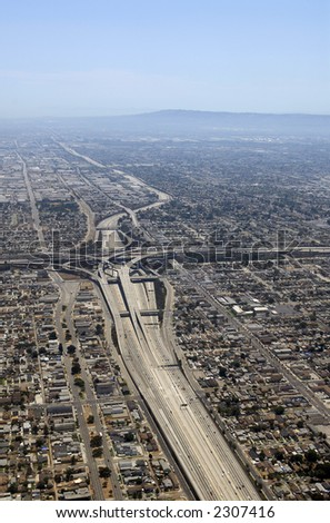 View over Los Angeles highway - stock photo
