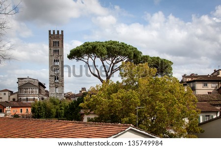 View over Lucca and Duomo San Martino in Tuscany, Italy - stock photo