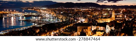 View over Malaga at evening Andalusia Spain - stock photo